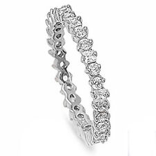 ROUND & PRINCESS RUSSIAN CZ ETERNITY BAND .925 Sterling Silver Ring Sizes 5-9