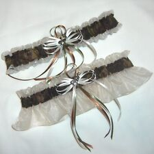 Deer Hunting Camouflage Wedding Garters on Ivory ( Camo garter )