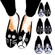 New Womens Cat Dog Flat Comfortable Shoes Slip On Casual Ballet Low Heel  Flats