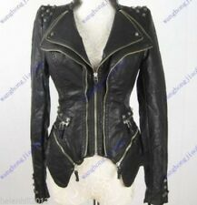 New Womens Punk Spike Studded Shoulder PU Leather Jacket Zipper coat Size S-3XL