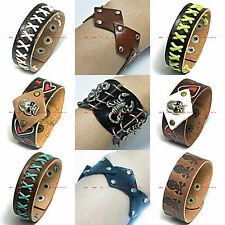 BWRM0005  LATEST PUNK ROCKER BIKER GENUINE LEATHER STUD RIVET BRACELET WRISTBAND