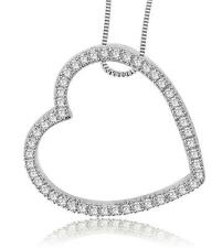 VVS1/F Heart Pendant Necklace Prong Set 0.80Ct Round Diamond White / Yellow Gold