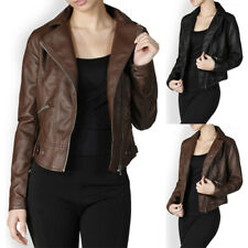 Faux Leather PU Motorcycle Rider Jacket Sloped Zipper Front Stylish Sexy S M L