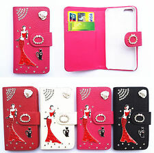 Bling Crystal Red skirt girl Wallet Pouch Flip PU Leather Case Cover For Samsung
