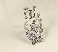 NEW Deluxe Plated Crystal Long Branch Leaf Knuckle Wrap Finger Alternative Color