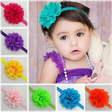 Cute Chiffon Solid Flower for DIY Baby Girl Hairband Headband Hair Accessories