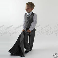 Boys Suit 5 pc Jacket Waistcoat Trousers Shirt Tie Wedding Formal Size 13 Years