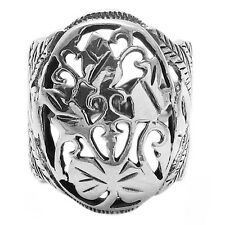 925 Sterling Silver Intricate Floral Design with Swan Setting Ring Size 6-9