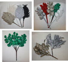 glittered artificial fern ~ holly ~ leaves bushes christmas foliage choose type