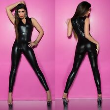 Sexy Faux Leather Overall Jumpsuit - S/M