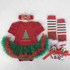 Newborn Infant Baby Girl Headband+Romper+Leg Warmers+Shoes Christmas Set Clothes