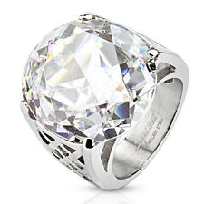316L Stainless Steel Large 9 Carat Round Clear CZ Ring Size 6-10