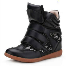 Fashion Womens Mixed Velcro Strap High-TOP Sneakers Shoes Ankle Wedge Boots Size