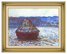 The Grainstack Haystack Claude Monet Painting Reproduction Framed Wall Art Print