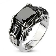 316L Stainless Steel Faceted Black Stone Gothic Style Ring Size 5-8