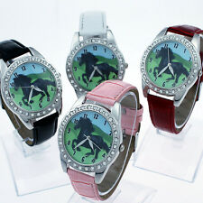 New Hot Black Horse Leather Strap Quartz Crystal Wristwatch Party Gift L18