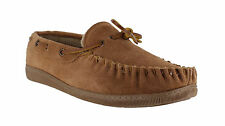 Mens Brown REAL SUEDE GENUINE MOCCS MOCCASINS Soft SLIPPERS Shoes sizes 6 to 12