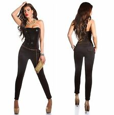 Sexy Women's Sequin Bandeau Jumpsuit Overall + Chain Belt - S / M / L