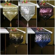 NEW Special Embroidery Shiny Sequins Tassel Decorative Bed Table Runner Cloth