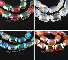 20 Crystal Glass Mahjong Square Faceted Necklace Finding Spacer Beads18x13mm New