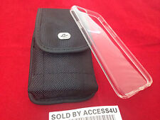NYLON VERTICAL CARRYING BELT CLIP POUCH & CLEAR SILICONE CASE FOR IPHONE 6s 6