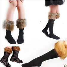 Girls Stylish Cotton Short Or Long Socks Faux Fur Cover Boot Stockings