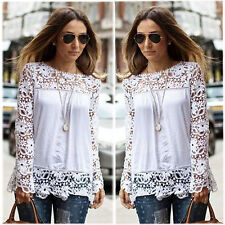 Hot Semi Sheer Women Sleeve Embroidery Floral Lace Crochet T-Shirt Top Blouse WH