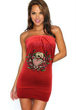 "NWT WOMEN'S ED HARDY ""SKULL/HEART/ROSES"" TUBE TOP/DRESS RED STY#A1DDAAYB SIZE:L"