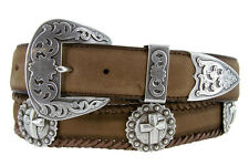Men's Silver Cross Western Scallop Concho Leather Cowboy Belt Black or Brown