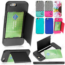 """For Apple iPhone 6 4.7"""" Hybrid Hard Credit Card ID Holder Case Skin Phone Cover"""