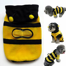 Cute Warm Pets Puppy Dogs Cats Bumble Bee Costume Apparel Fleece Hoodie Coat