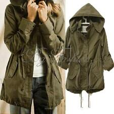 Women Hoodie Drawstring Army Green Military Trench Coat Parka Jacket Jumper Tops
