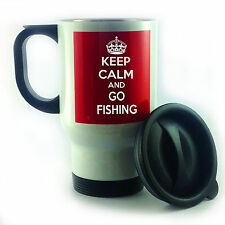 KEEP CALM AND GO FISHING WHITE & STAINLESS STEEL TRAVEL THERMAL MUG CUP GIFT