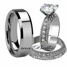 Chic 3 Pcs His Tungsten Hers Stainless Steel CZ Wedding Engagement Ring Band Set