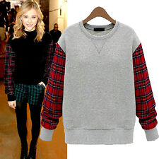 Women Winter Crewneck Top Plaid Check Pullover Casual Tee Long Sleeve Sweatshirt