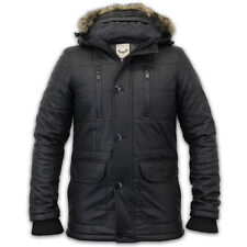 Mens Leather Look Parka Jacket Brave Soul Coat Padded Quilted PU Fur Winter New