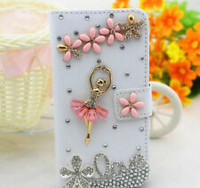 3D Love Ballet Bling Diamond Crystal Card Wallet Leather Case Cover For Samsung
