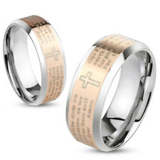 Stainless Steel Laser Etched Rose Gold Lord's Prayer Wedding Band Ring Size 5-13