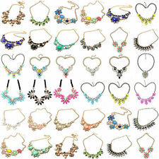 Fashion Charm Crystal Jewelry Chunky Statement Bib Pendant Choker Chain Necklace