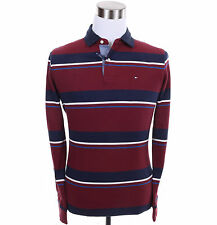 Tommy Hilfiger Men Long Sleeve Stripe Polo Custom Fit Rugby Shirt - Free $0 Ship