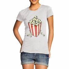 Women Cotton Novelty Halloween Theme Eye Balls Cinema Popcorn Print T-Shirt