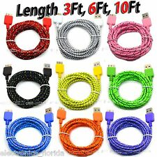 LOT Braided USB Data Sync & Charger Cable For SAMSUNG GALAXY S5 or NOTE 3