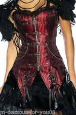 Carnival Corsage Goth Punk Steampunk Pirate Captain Fancy Dress Red Black S -