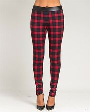 RED & BLACK Plaid STRETCH Pants Leggings Two Tone Pleather sz S M L