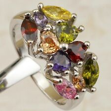 Size 6 7 8 9 Stylish Hot Nice Multi-Color CZ Gems Jewelry Gold Filled Ring K1917