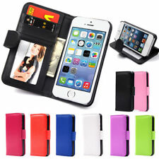 Flip Wallet Leather Case Cover For Apple iPhone 4 5 5S Free Screen Protector New