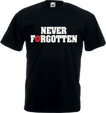 Never Forgotten T-shirt - Poppy, Remembrance Day, All Sizes & Various Colours