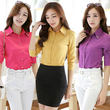 Fashion Career OL Womens Slim Tops Long Sleeve Button Down Shirt Blouse 7 Colors