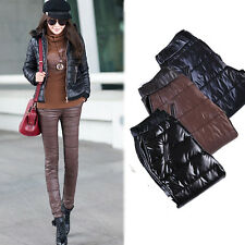 Women Slim PU Leather Pencil Pants Trousers Winter Warm Thick Down-like Boots