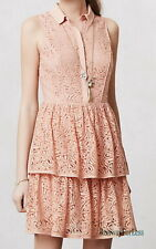 New $188 ANTHROPOLOGIE ADDISON STORY M Tiered Romantic Lace Shirtdress Dress
